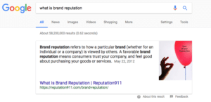 What is Brand Reputation? Google Search Results